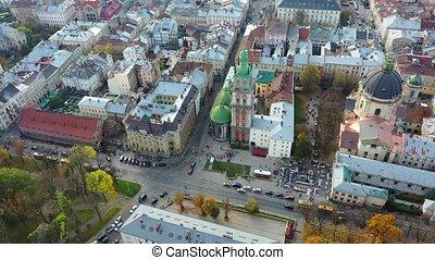 Aerial video of Uspinska Church in central part of old city of Lviv, Ukraine