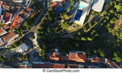 Aerial. Video shooting from dron of Monchique village. Algarve