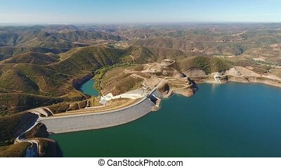 Aerial. Video shooting from drone, dam Odelouca, Portimao...
