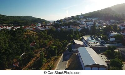 Aerial. Video shooting from the dron of Monchique village.