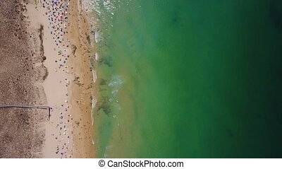 Aerial video shooting from the drone, Gale beach, city of Albufeira