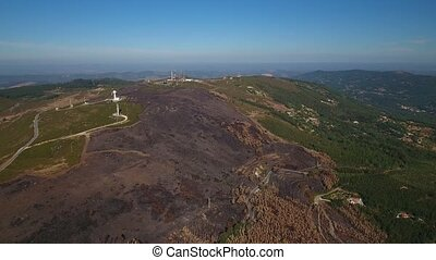 Aerial. Video shooting of drone, Mount Foia Monchique Portugal
