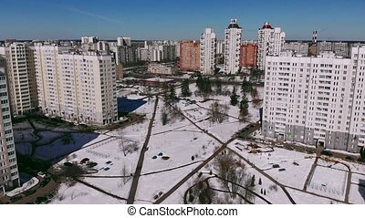Aerial video shooting with winter Zelenograd. - Aerial video...