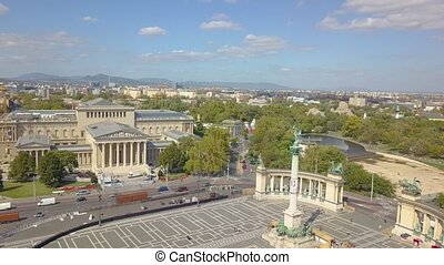Aerial video shows the Heroes Square in downtown Budapest, Hungary - 4K drone footage. Aerial view