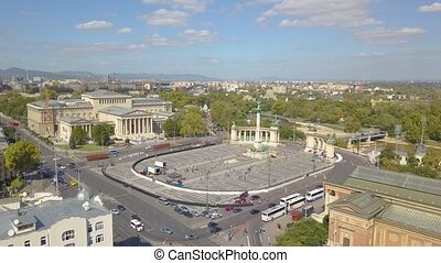 Aerial video shows the Heroes Square in downtown Budapest,...