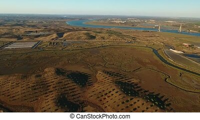 Aerial .Videography shooting over Ria Formosa near Vila Real...