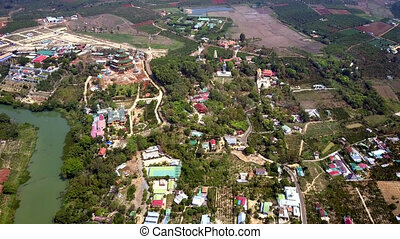 aerial Vietnamese towns villages and fields in countryside -...