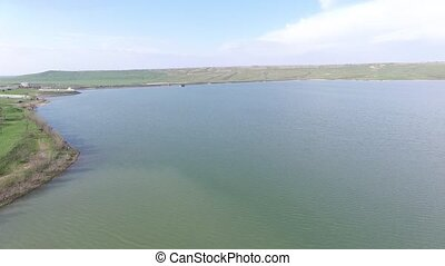 A flight over a beautiful lake. Russia. - Aerial View. A...