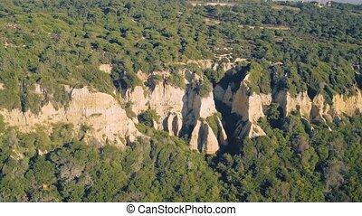 Aerial View a Sandstone Hill near Shore, Portugal