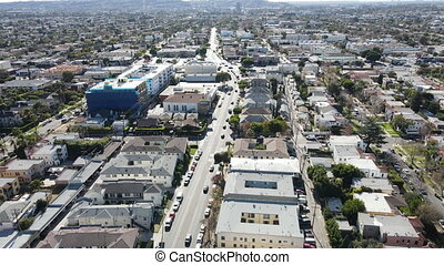 Aerial view above Central Los Angeles