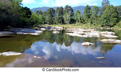 mountain river against pictorial wild nature under sky with clouds