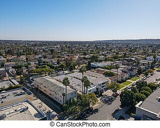 Aerial view above Mid-City neighborhood in Central Los Angeles