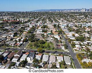 Aerial view above Reynier Village neighborhood in West Los Angeles