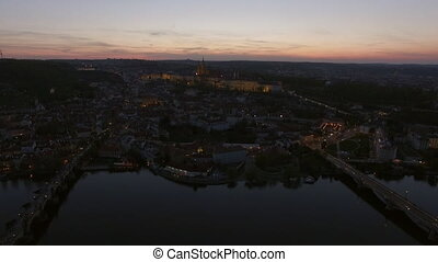 Aerial view along Vltava river in the summer. Prague, Czech Republic