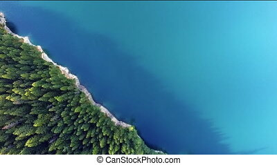 Aerial View Alpine Lake Evergreen Fir Trees Turquoise Water...
