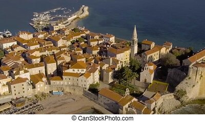 Aerial View - Ancient European City Old Town Budva - Aerial...