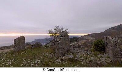 Aerial View - Ancient European Fortress Kosmach in Budva,...