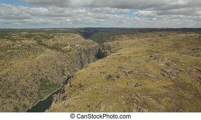 Aerial view approaching to cliff in Duero River, Spain
