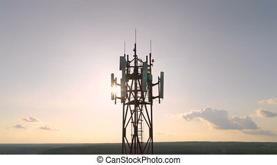 Aerial view around of the cellular telecom tower - Closeup...