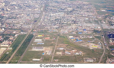 Aerial view Astana, Kazakhstan - View from the cabin...