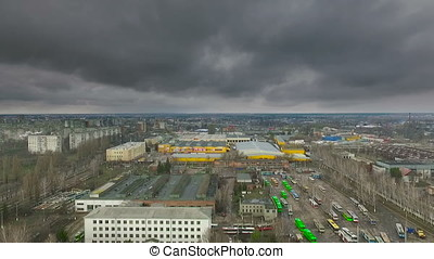 aerial view at depot factory and storm clouds in the spring