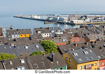 Aerial view at houses and harbor of German island Helgoland