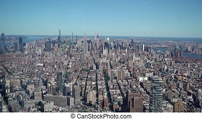 Aerial view at New York city. Towers of midtown Manhattan.