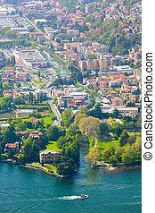 aerial view at the Cernobbio, Como Lake, Italy