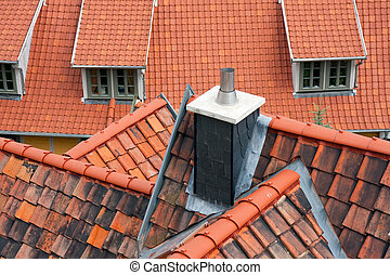Aerial view at the roofs of Quedlinburg, Germany