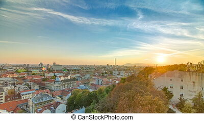 Aerial view at Zagreb downtown timelapse, sunset time, Croatia capital city.