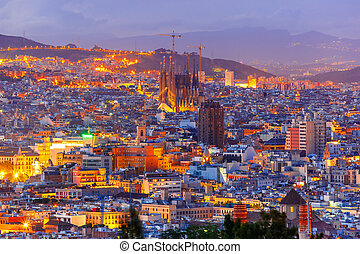 Barcelona Skyline Aerial View At Night Spain