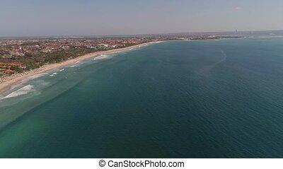 Aerial view beach, Bali, Kuta. - Aerial view coastline with...