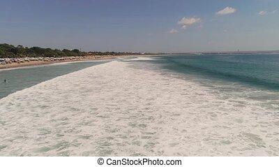 Aerial view beach, Bali, Kuta. - Aerial view sand beach with...