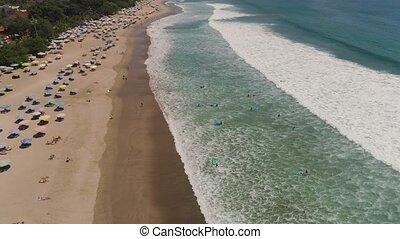 Aerial view beach, Bali, Kuta.