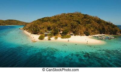 Aerial view beautiful beach on a tropical island Banana....