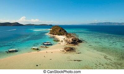 Aerial view beautiful beach on a tropical island. Coron,...