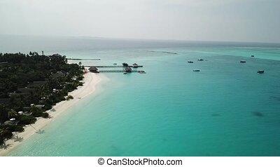 Aerial View Beautiful Beach On Maldives Tropical Island,