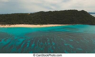 Aerial view beautiful beach on tropical island. Boracay...