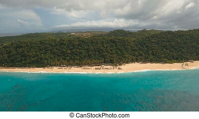 Aerial view beautiful beach on tropical island. Boracay...