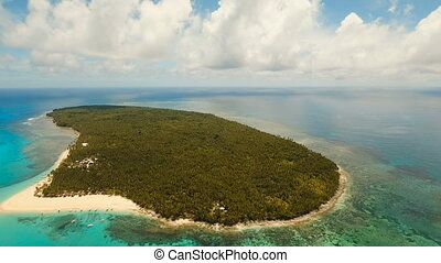 Aerial view beautiful beach on tropical island. Daco island, Philippines, Siargao.