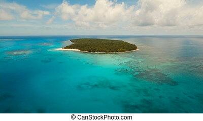 Aerial view beautiful beach on tropical island. Daco island,...
