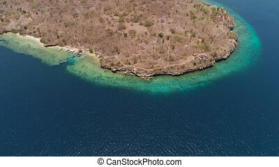 Aerial view beautiful beach on tropical island Menjangan....