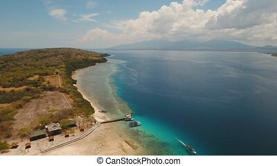 Aerial view beautiful beach on tropical island Menjangan. Bali,Indonesia.