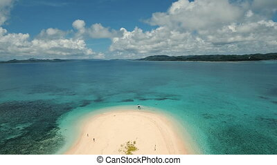 Aerial view beautiful beach on tropical island. Siargao...