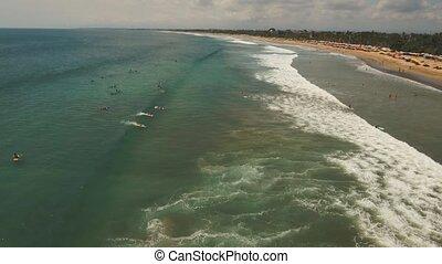 Aerial view beautiful beach with surfers, Bali, Kuta.