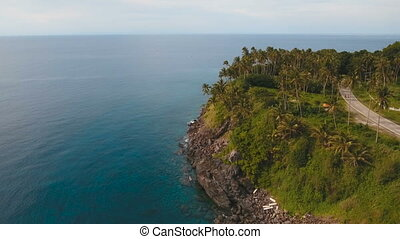 Aerial view beautiful coastline on the tropical island. Camiguin island Philippines.