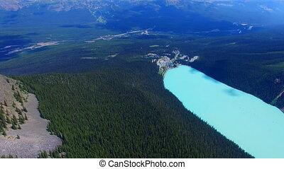 Aerial view beautiful lake mountains