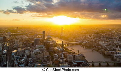 aerial view beautiful sunset city of London.
