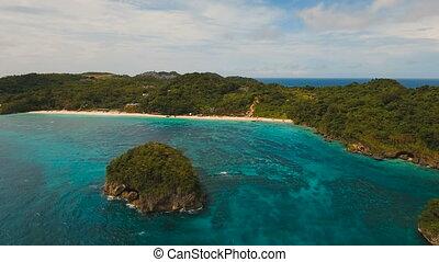 Aerial view beautiful tropical island. Boracay island...
