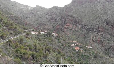 Aerial view. Big mountains hang over a small village, palm...